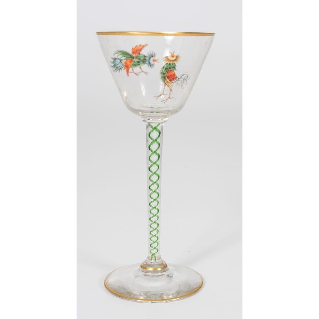 Threaded Glass Wine Glasses - 4