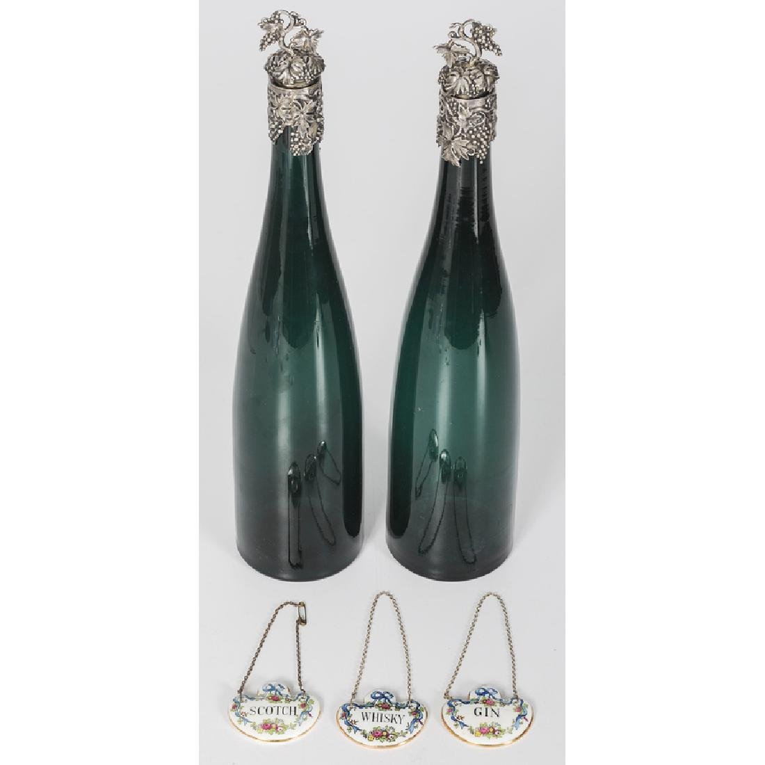 Blown Glass Wine Bottles with Sterling Mounts, Plus