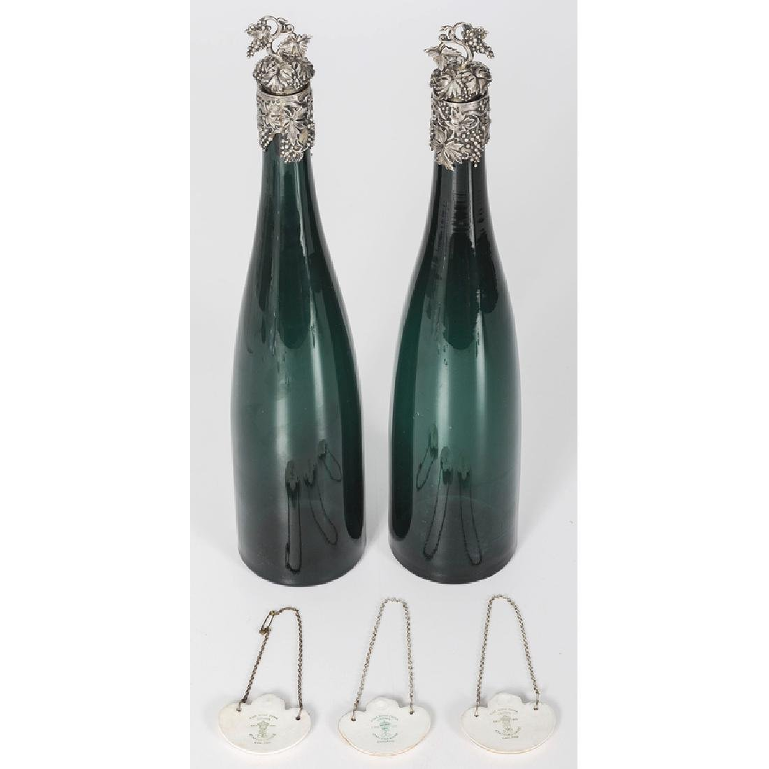 Blown Glass Wine Bottles with Sterling Mounts, Plus - 2