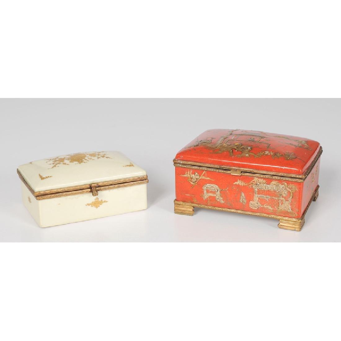 French Porcelain Dresser Boxes