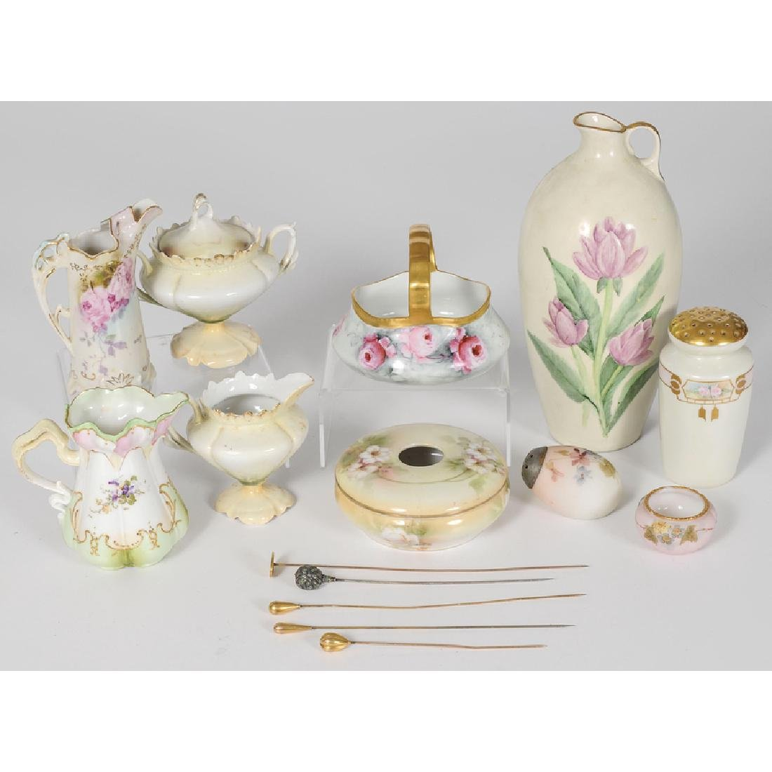 Continental Floral-Decorated Porcelain and Glass
