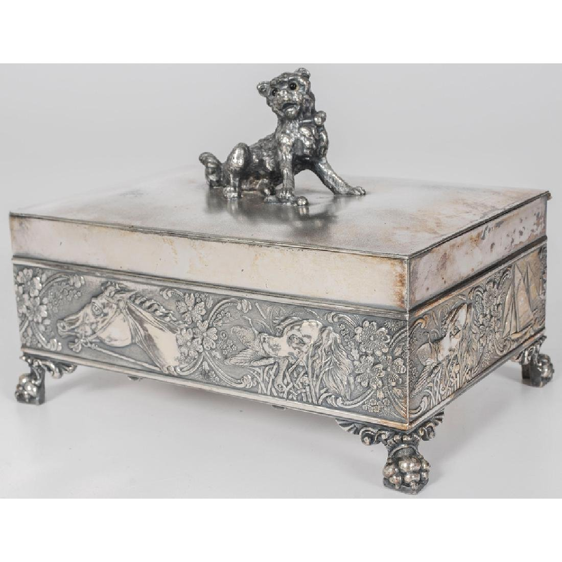 Tufts Silverplated Dresser Box with Dog Motifs - 2