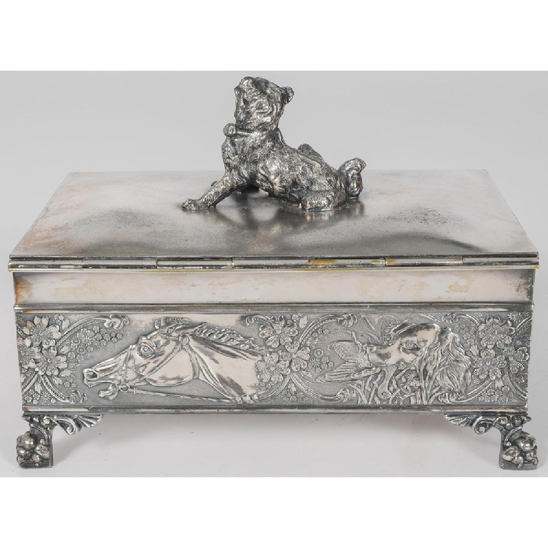 Tufts Silverplated Dresser Box with Dog Motifs - 3