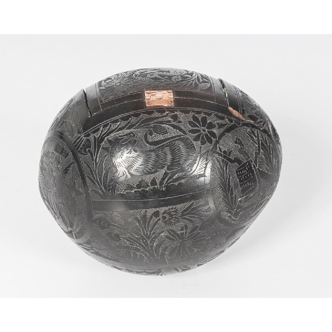 Carved Coconut Bank with Gold Settings - 3