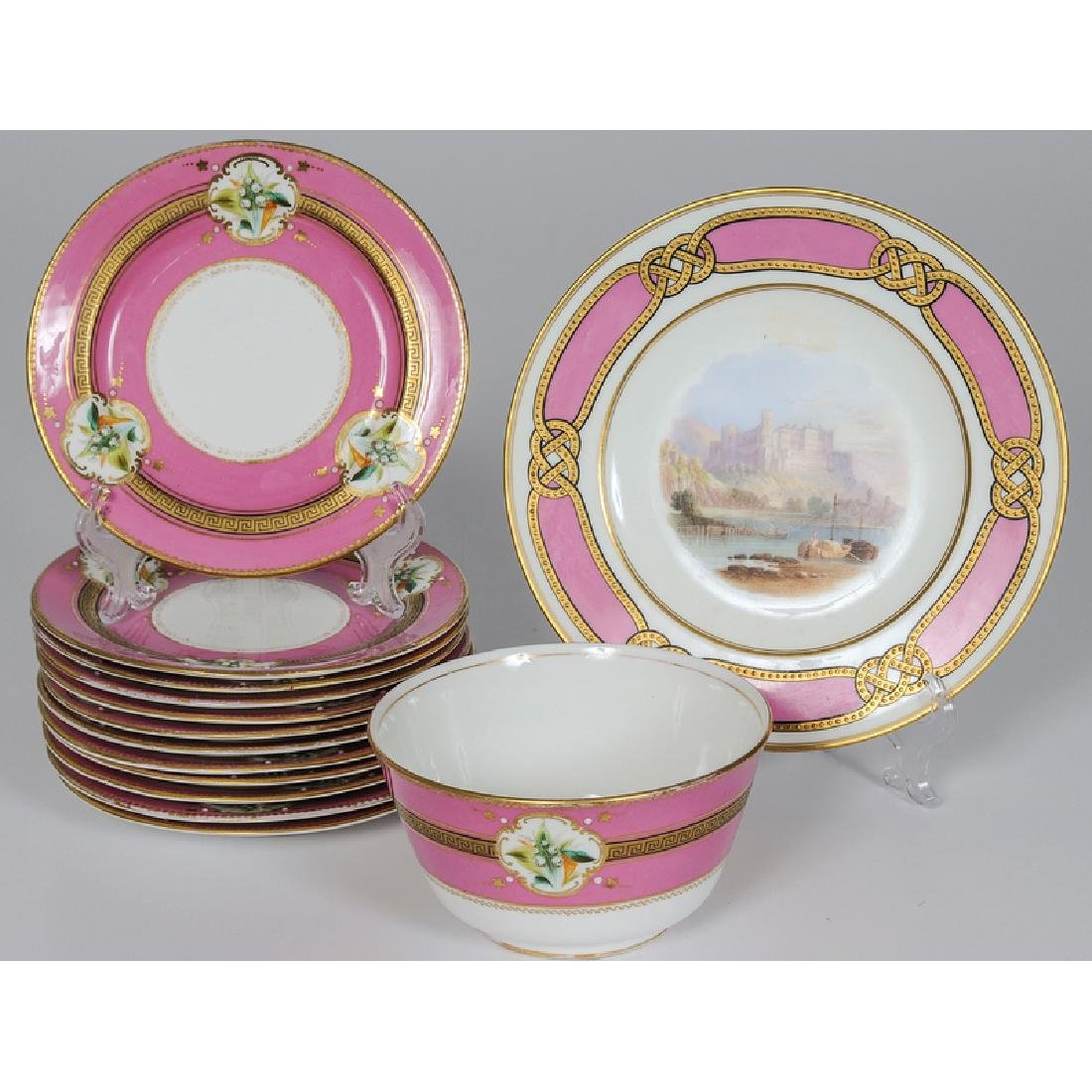 English Porcelain Dessert Plates and Bowl, Plus