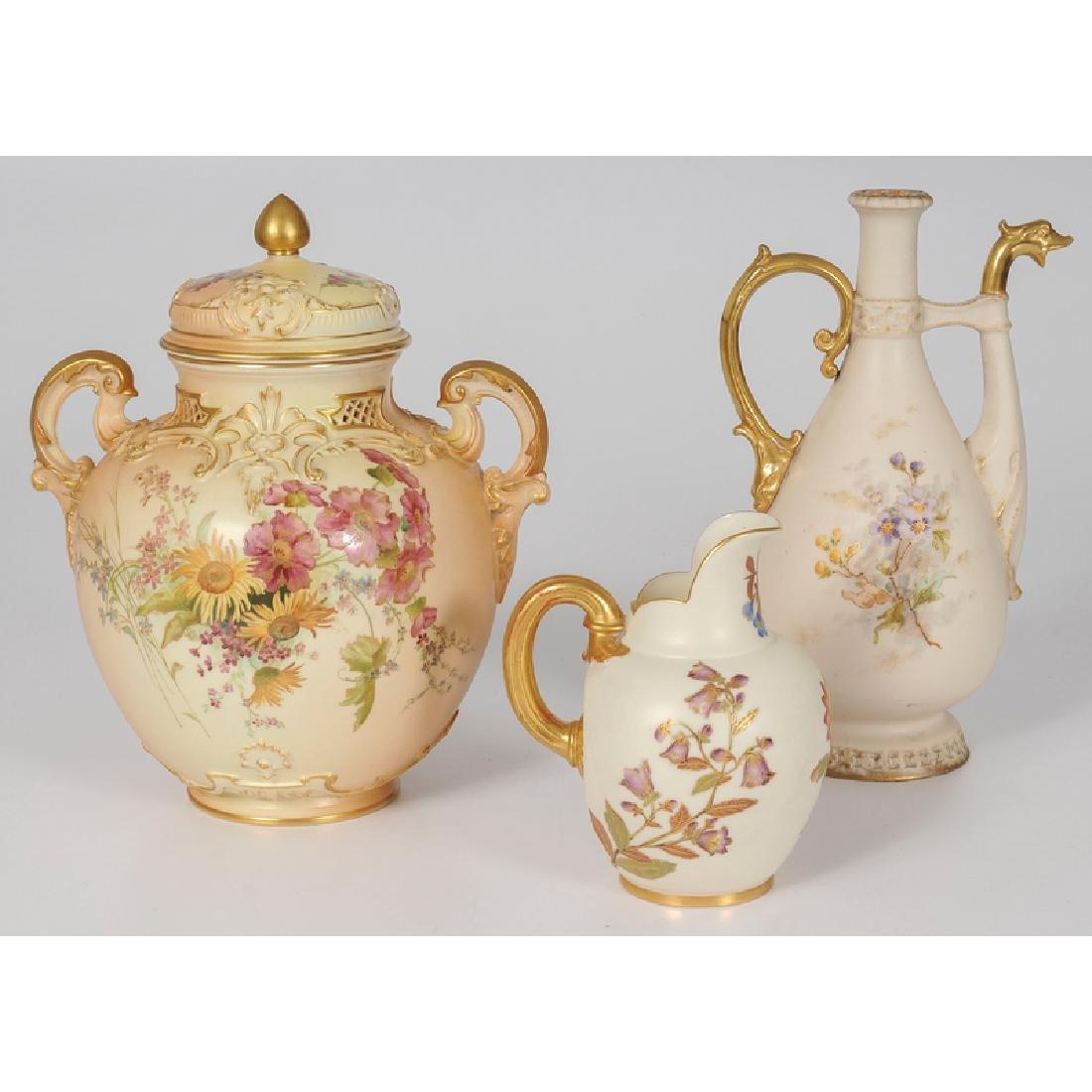 Royal Worcester Lidded Jar and Creamer and Teplitz