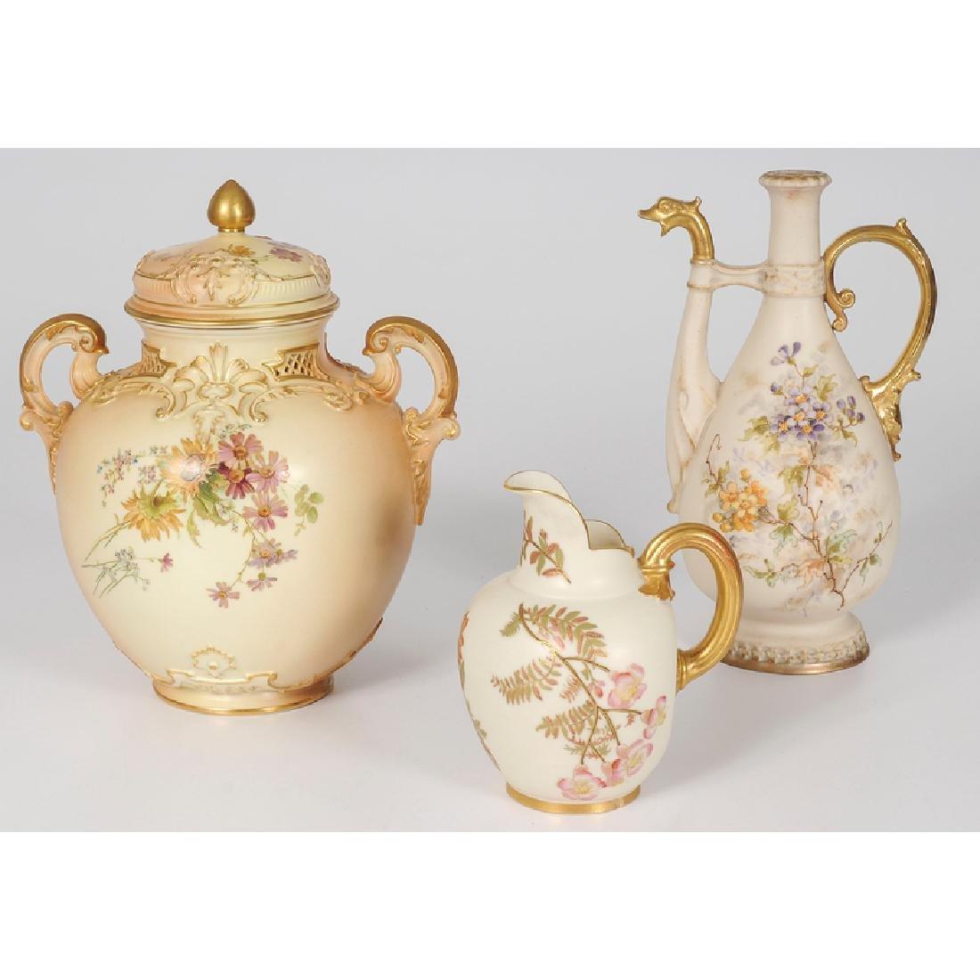 Royal Worcester Lidded Jar and Creamer and Teplitz - 2