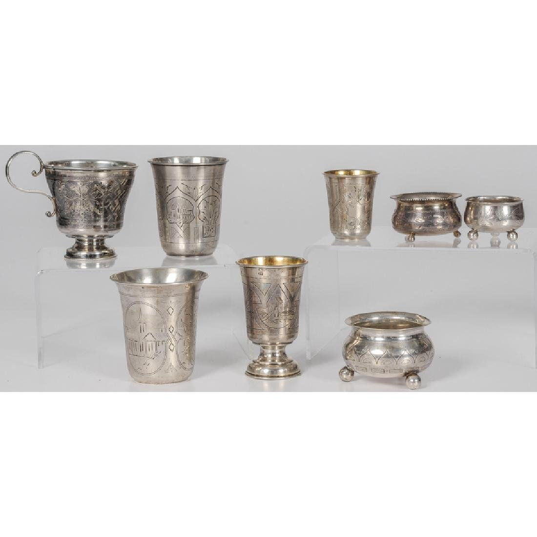 Russian Silver Beakers and Salts - 2