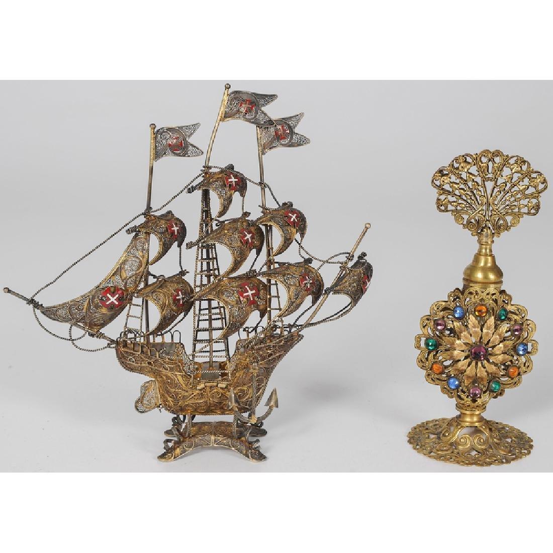 Portuguese Silver Filigree Ship, Plus