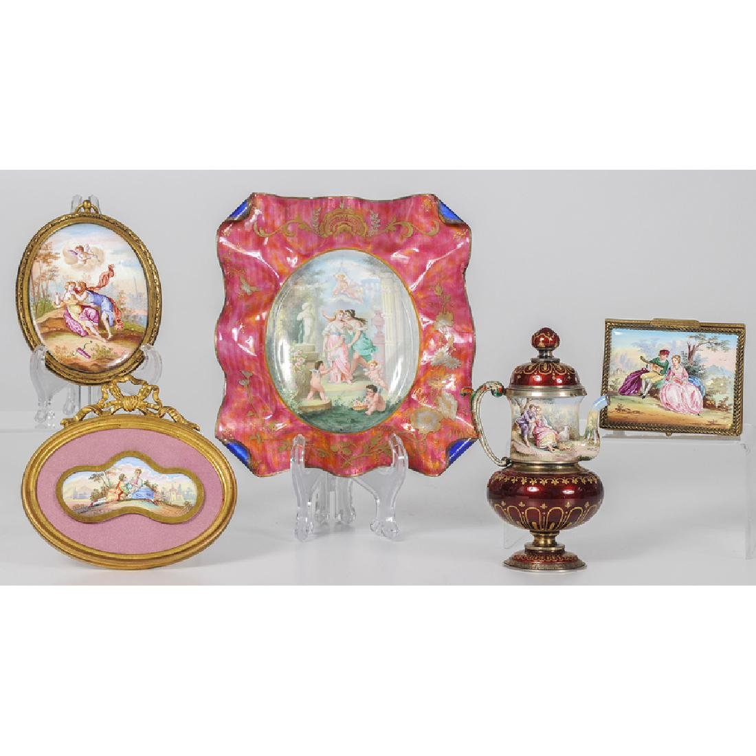 Austrian Accessories Decorated with Enamel Court Scenes