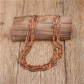 Five Strand Branch Coral Navajo Necklace Ex CG