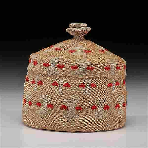 Attu Twined Lidded Basket, Property of a Midwest