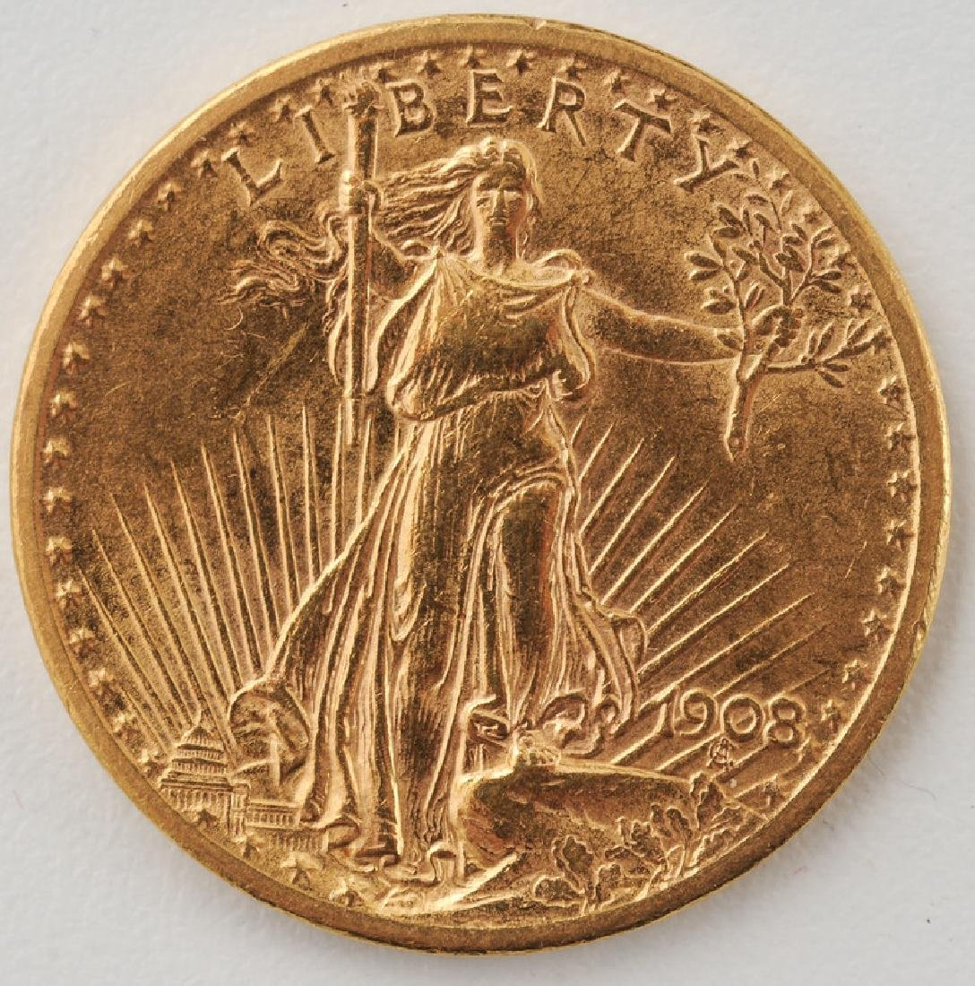 United States 1908 St. Gaudens Double Eagle Twenty