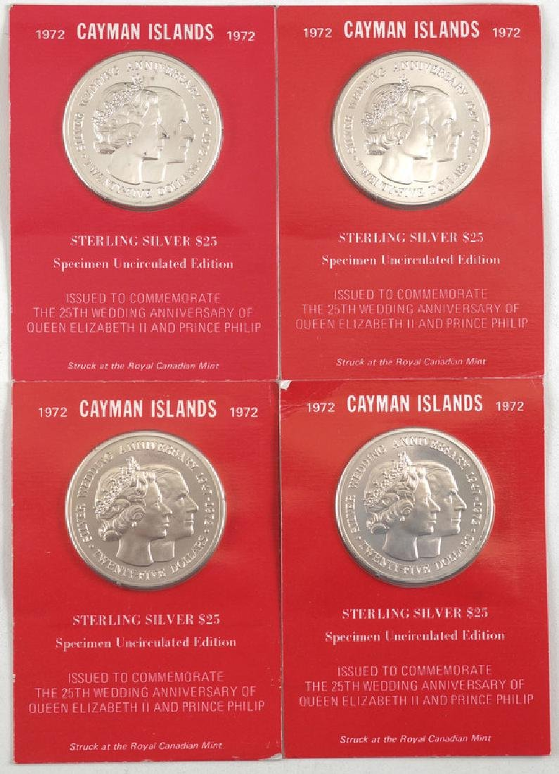 Cayman Islands Sterling Silver Commemorative Coins Ca.