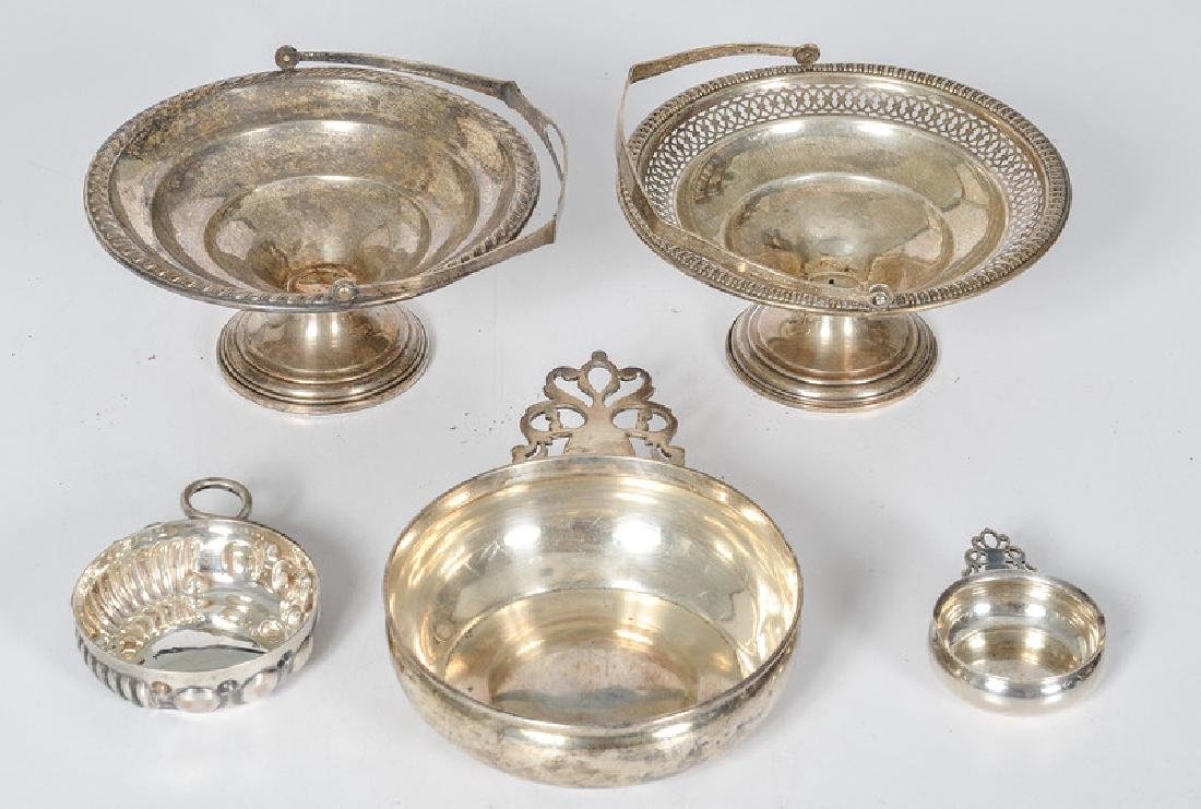 Sterling Handled Compotes, Porringers and a Wine Taster