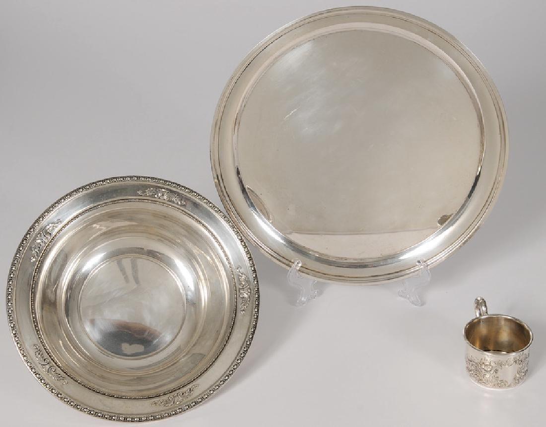 American Sterling Platter, Bowl and Child's Mug