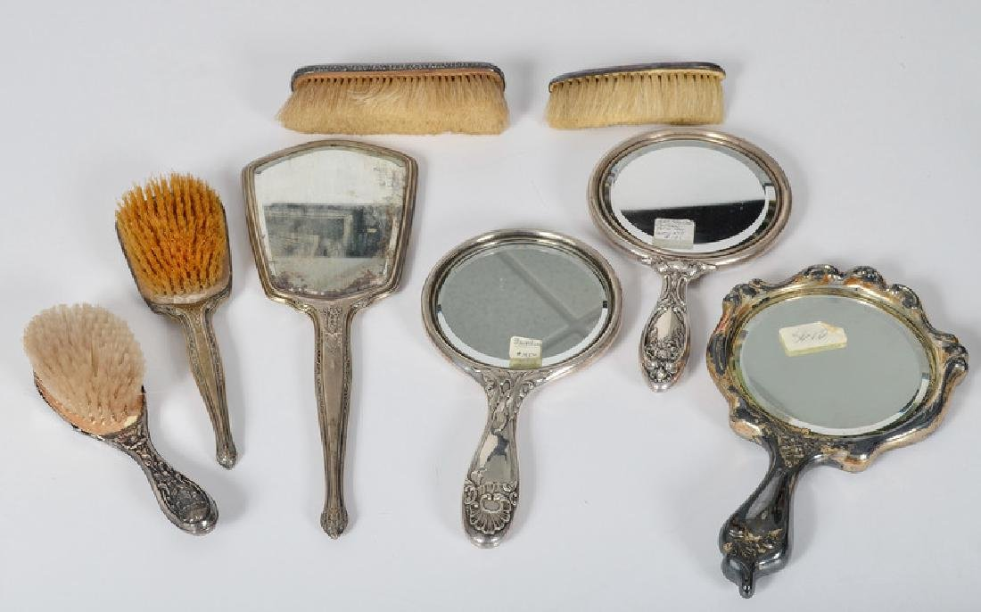 Assorted Sterling Dresser Mirrors and Brushes