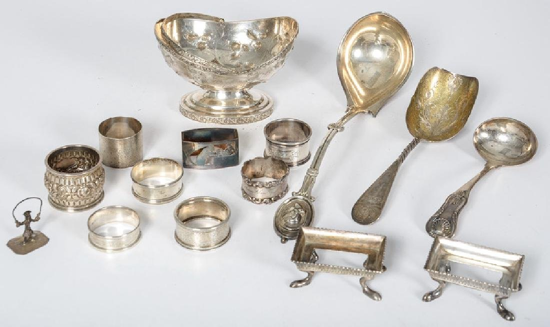 Coin and Sterling Silver, Including Ladles and Napkin