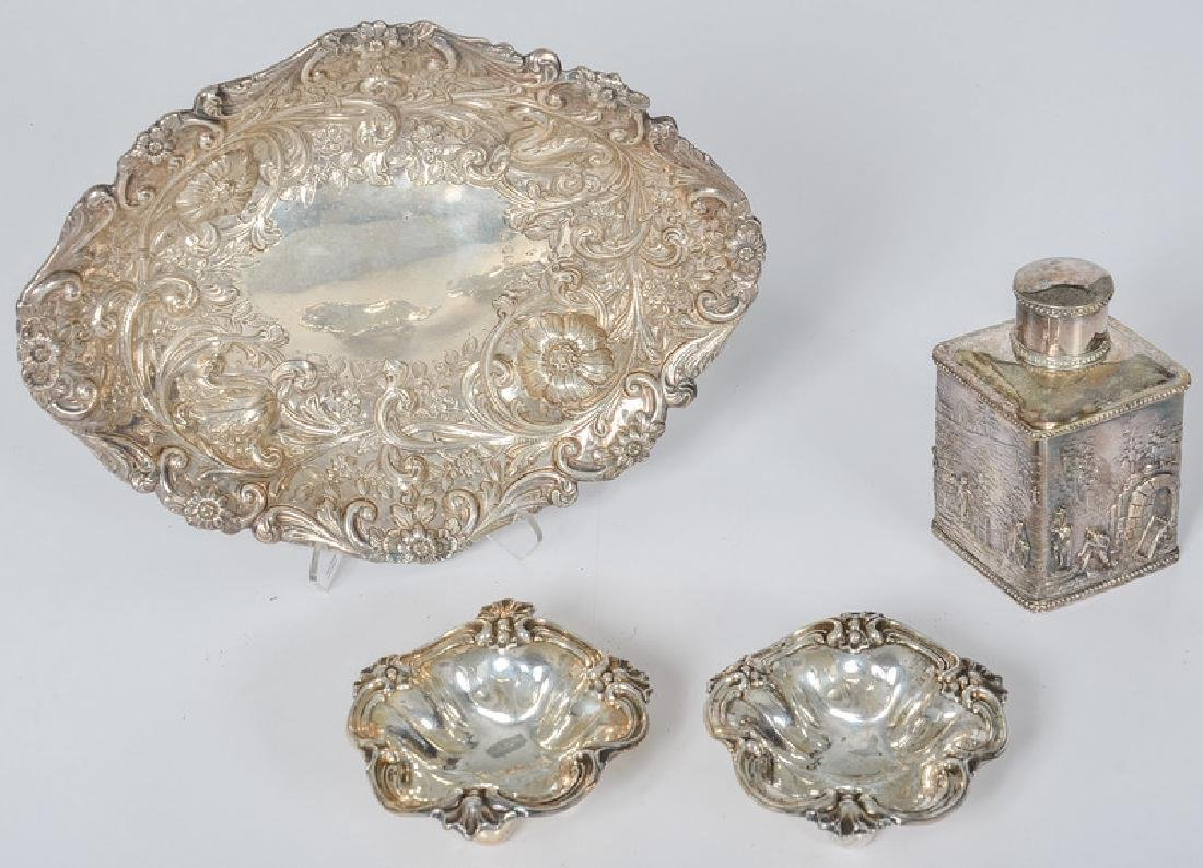 English Sterling Dishes and Caddy