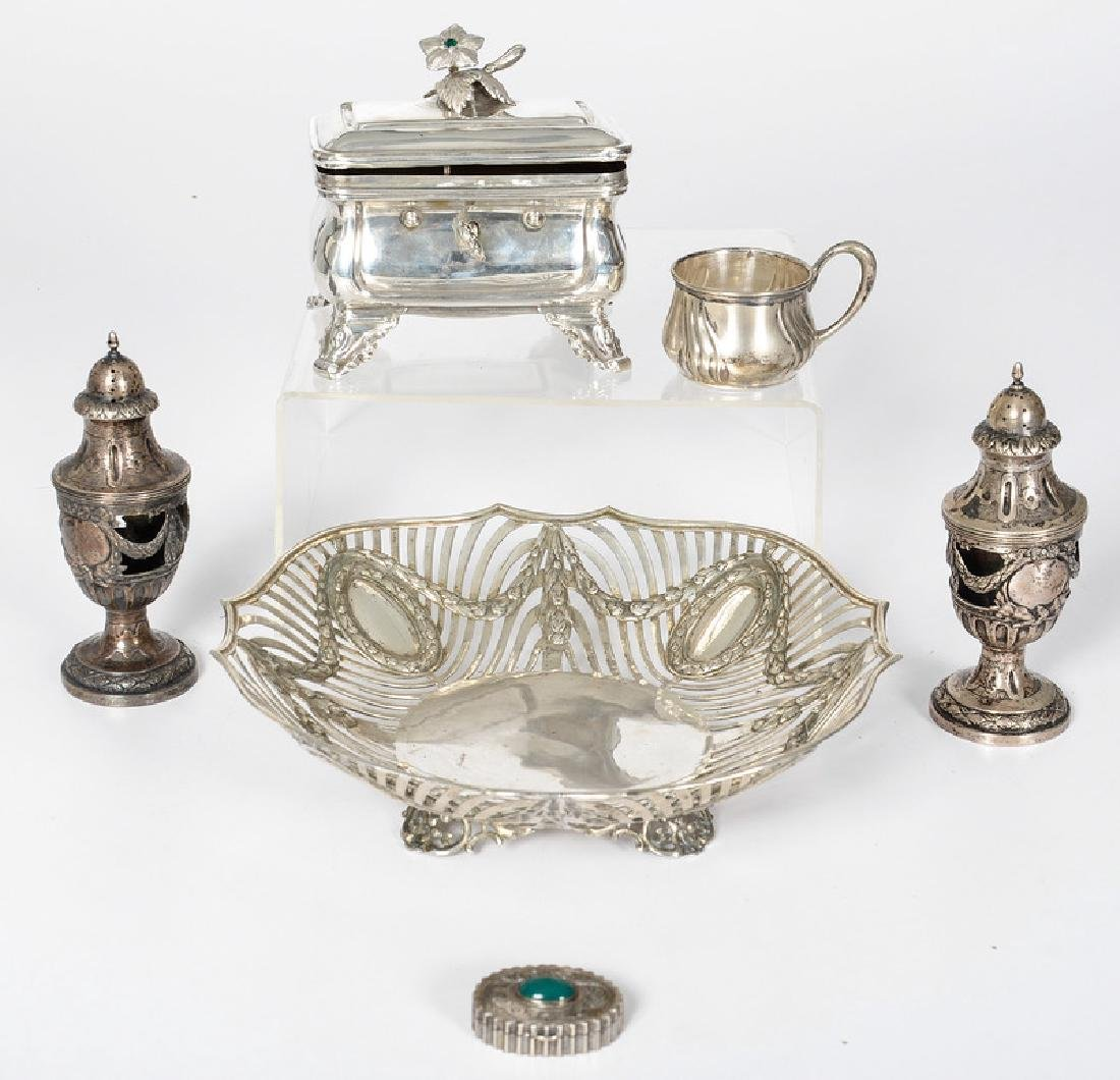 Continental .800 Silver Accessories and Hanau Bowl, Plu