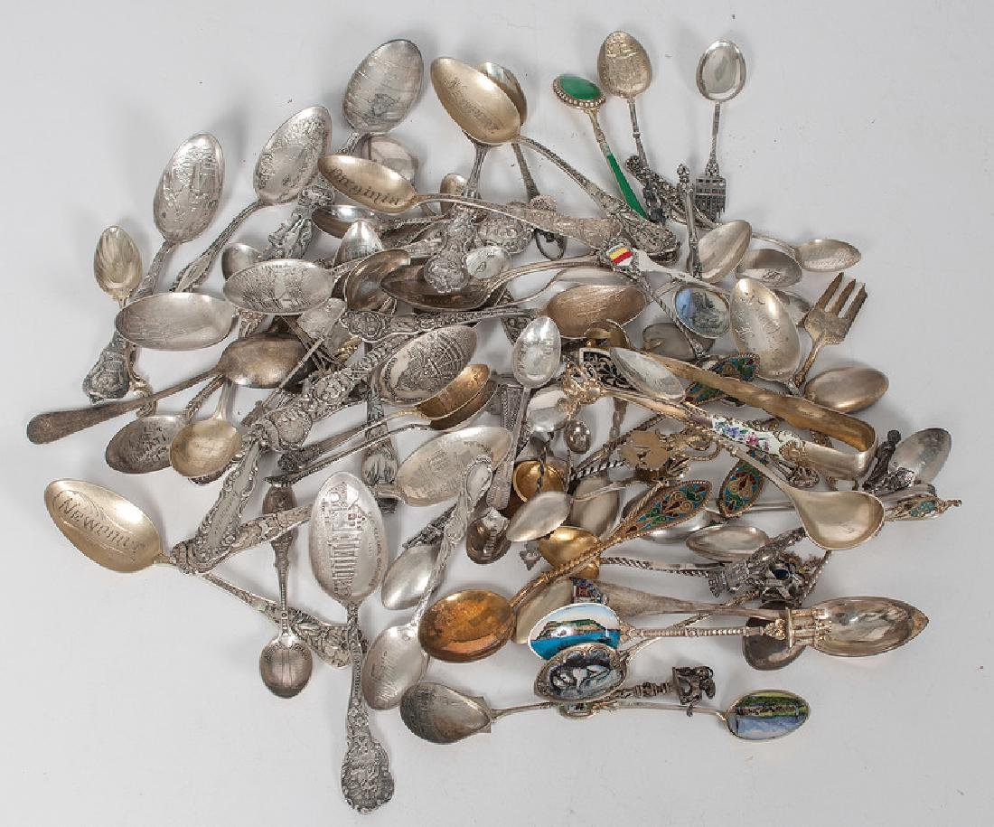 Sterling and Enameled Souvenir Spoons