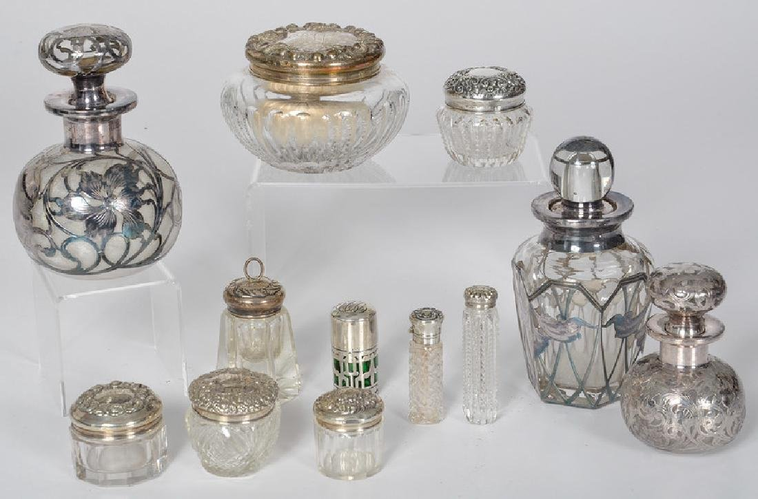 American Cut Glass Jars with Sterling Lids and Overlay