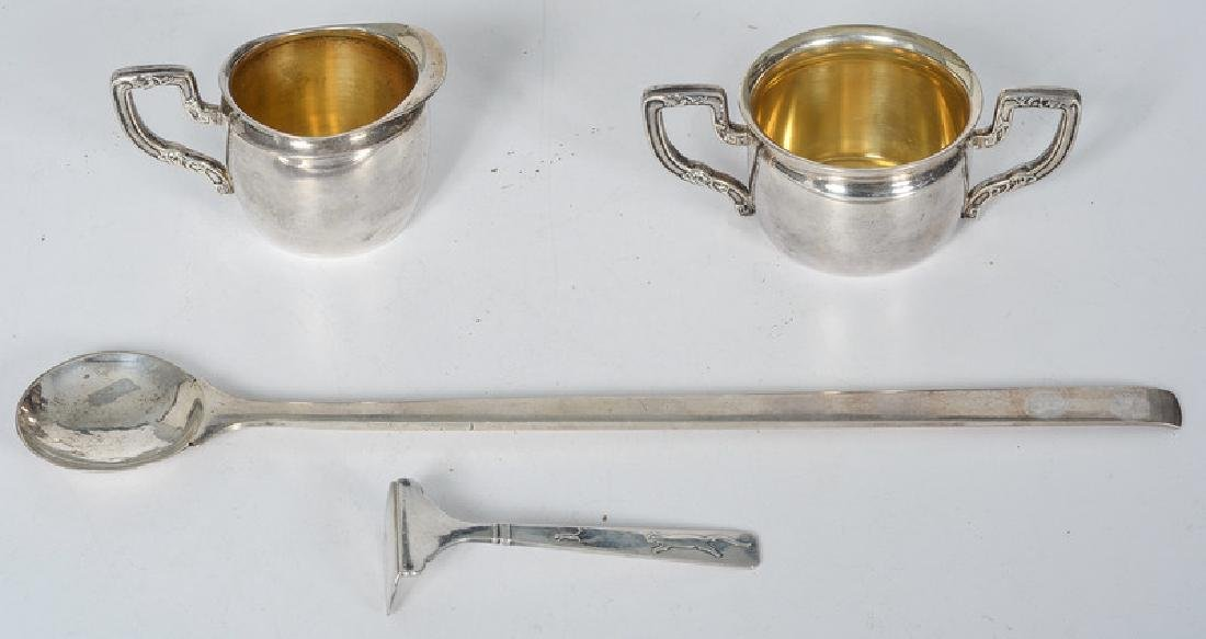 American Sterling Ladle, Creamer and Sugar, with Danish