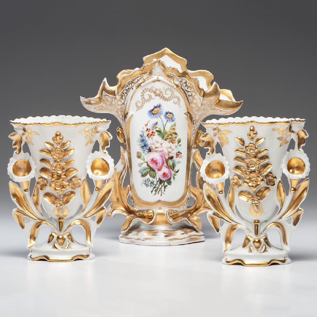 Old Paris Porcelain Garniture Vases