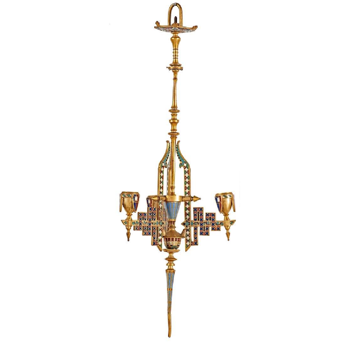 Neo-Grec Gilt-Bronze and Cloisonné Chandelier