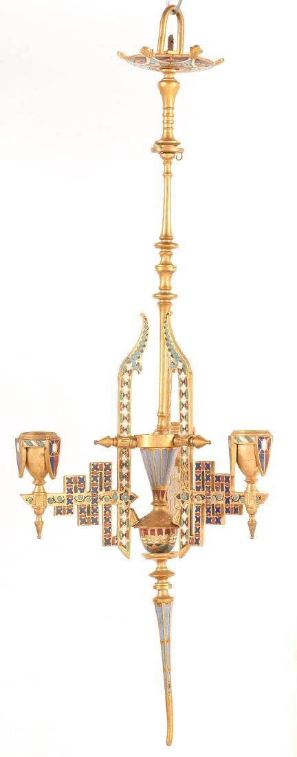 Neo-Grec Gilt-Bronze and Cloisonné Chandelier - 2