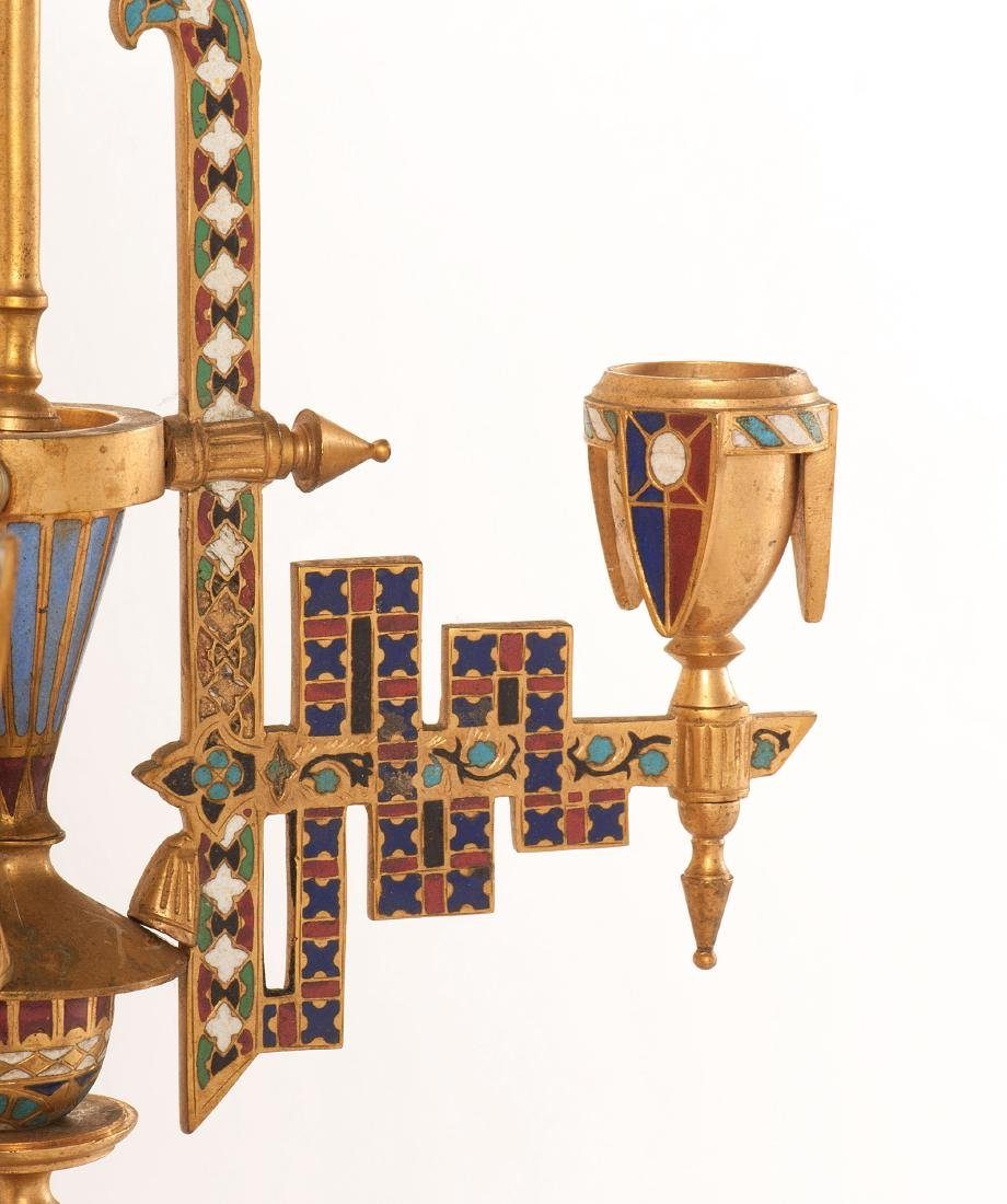 Neo-Grec Gilt-Bronze and Cloisonné Chandelier - 3