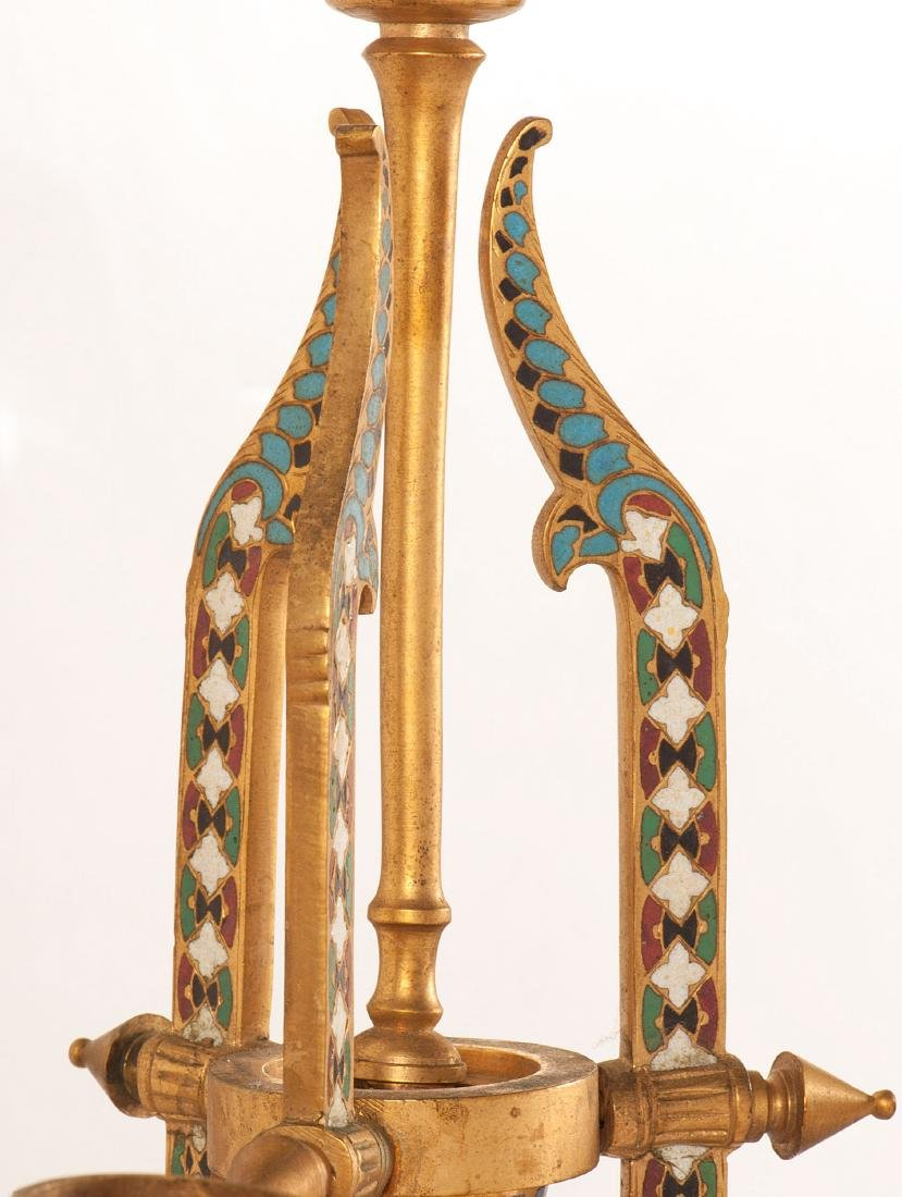Neo-Grec Gilt-Bronze and Cloisonné Chandelier - 5