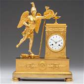 French Empire Gilt Bronze Figural Clock