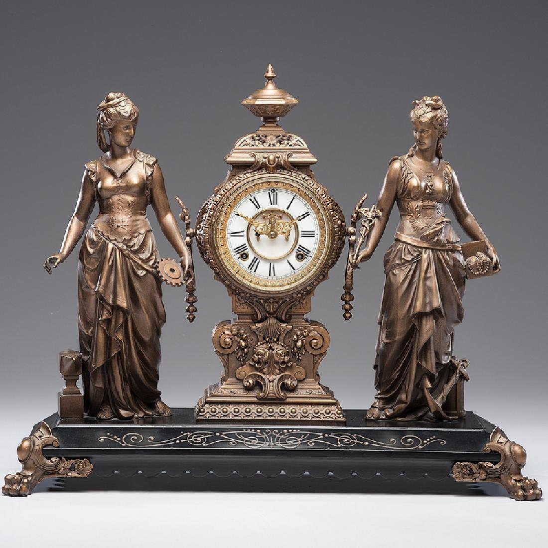 Ansonia  Art and Commerce Mantel Clock