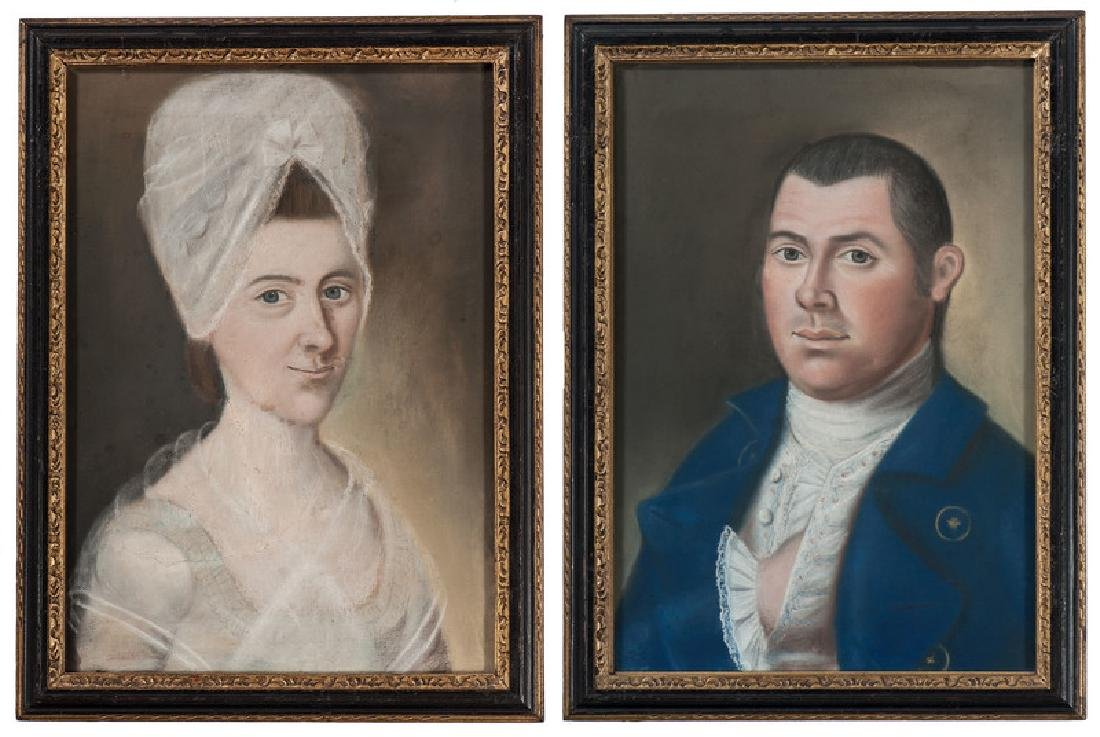 Pastel Portraits of Captain John Collins and Mary