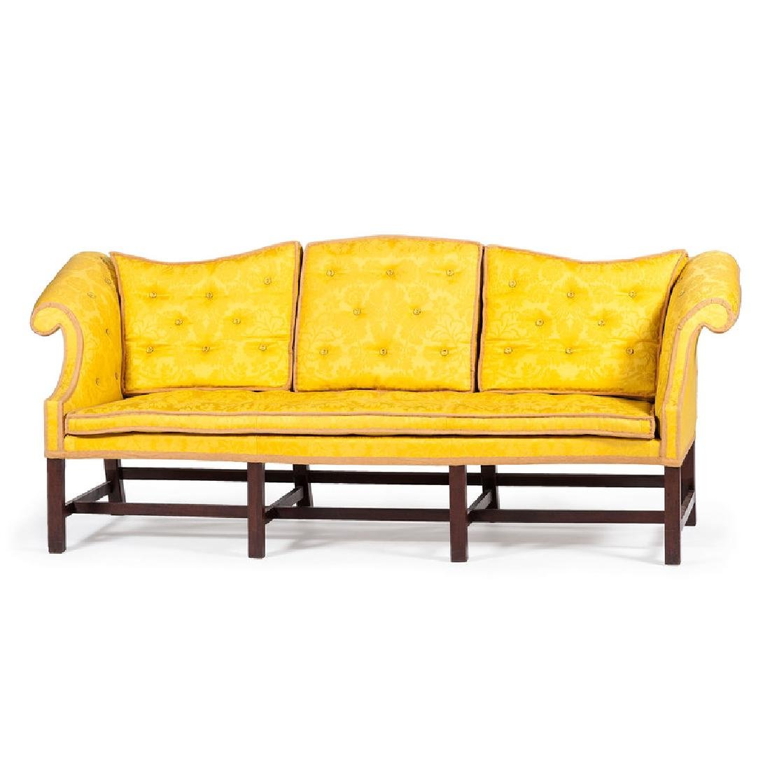 Rare Chippendale Camelback Sofa With Removable Back
