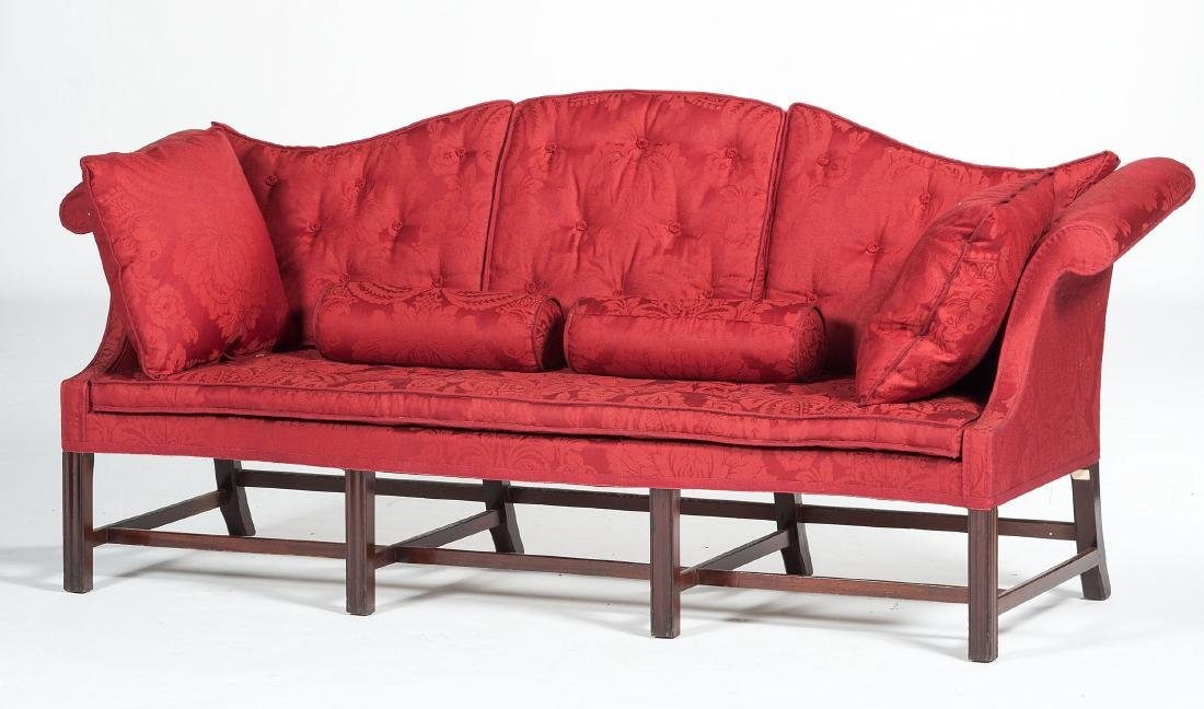 New England Chippendale Camelback Sofa - 2