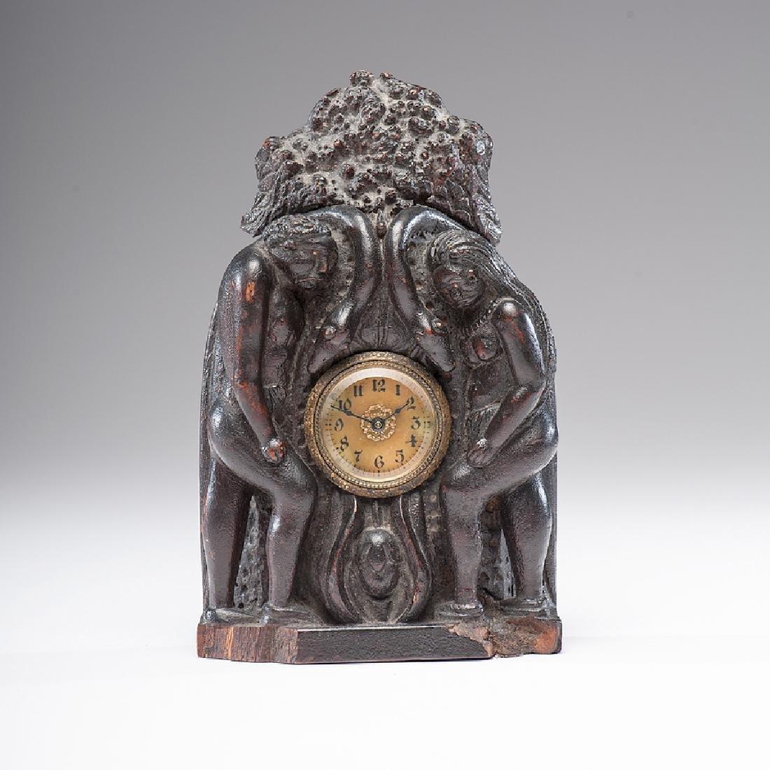 Folk Art Carved Wood Clock Case