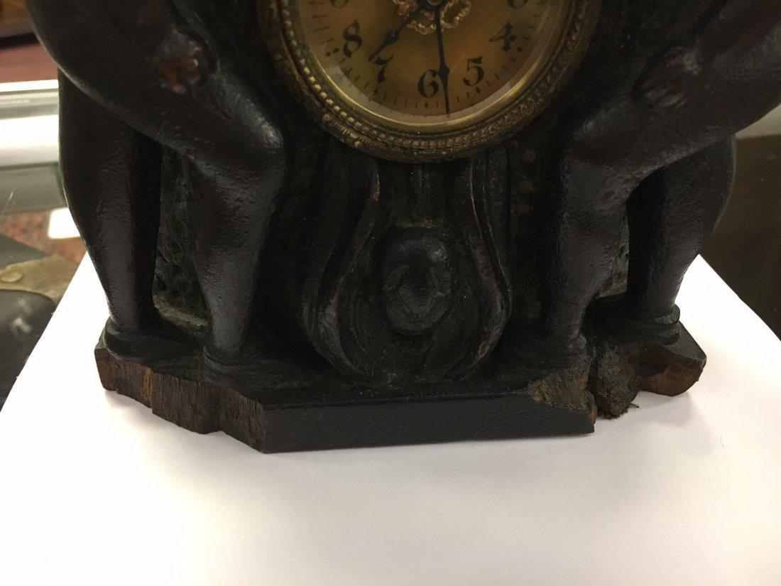Folk Art Carved Wood Clock Case - 5