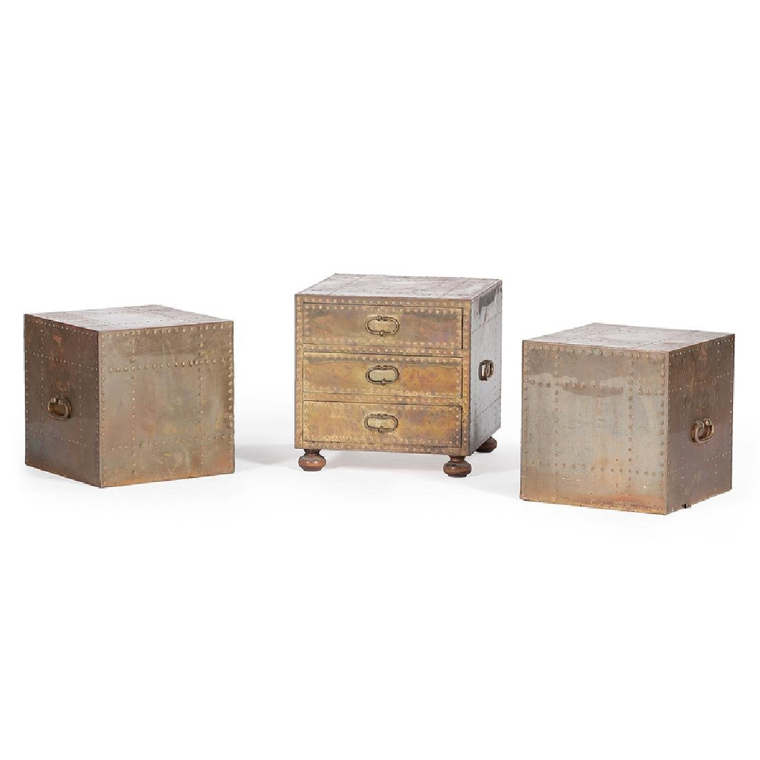 Modern Brass-Clad Side Tables