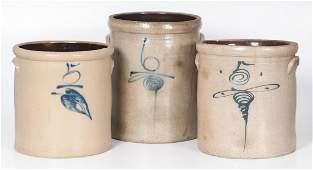 Stoneware Crocks with Cobalt Decoration