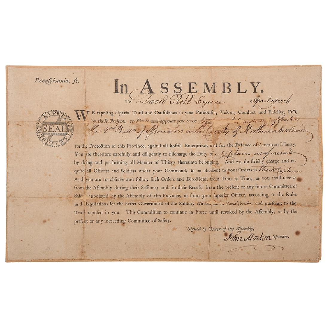 John Morton, Signer, DS Appointment by the Committee of