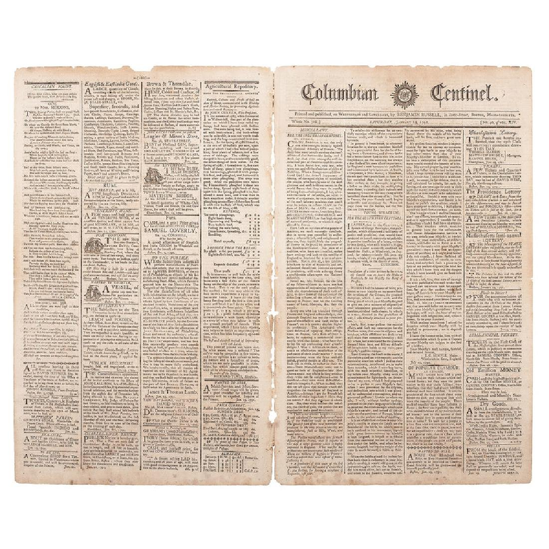 Columbian Centinel, Two Issues, 1791 & 1792, Incl.