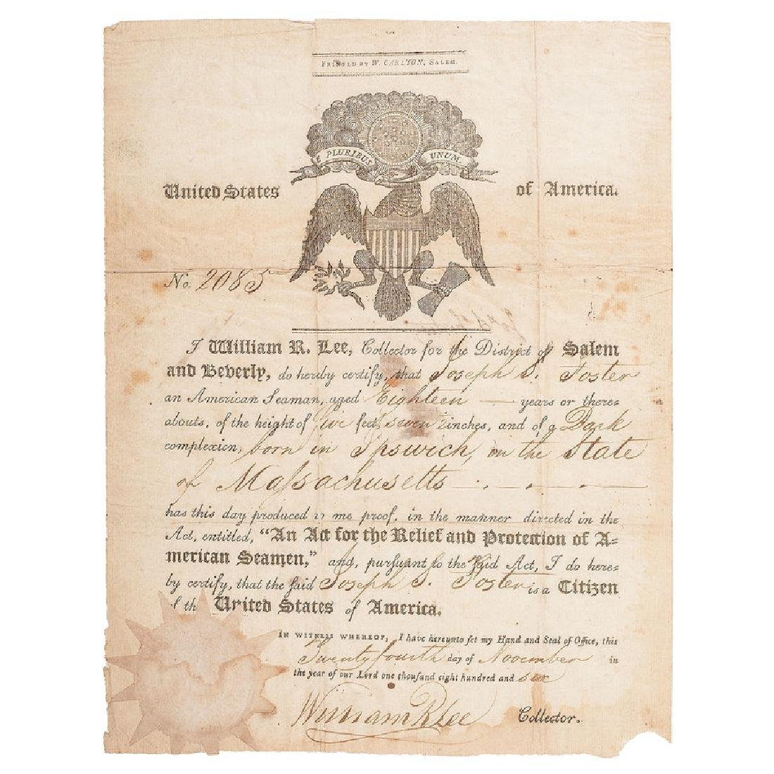 Official Seaman's Protection Certificate, Dated 1806