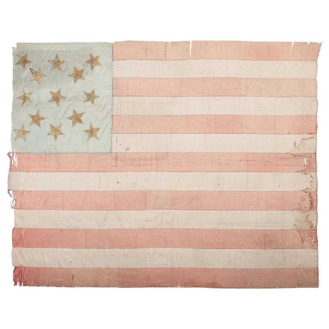 Early Silk 13-Star American Flag
