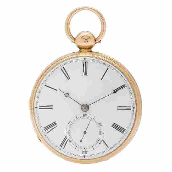 F.B. Adams & Sons Open Face Pocket Watch in 18 Karat