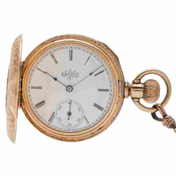 Elgin Hunter Case Pocket Watch in 14K Tri Color Gold