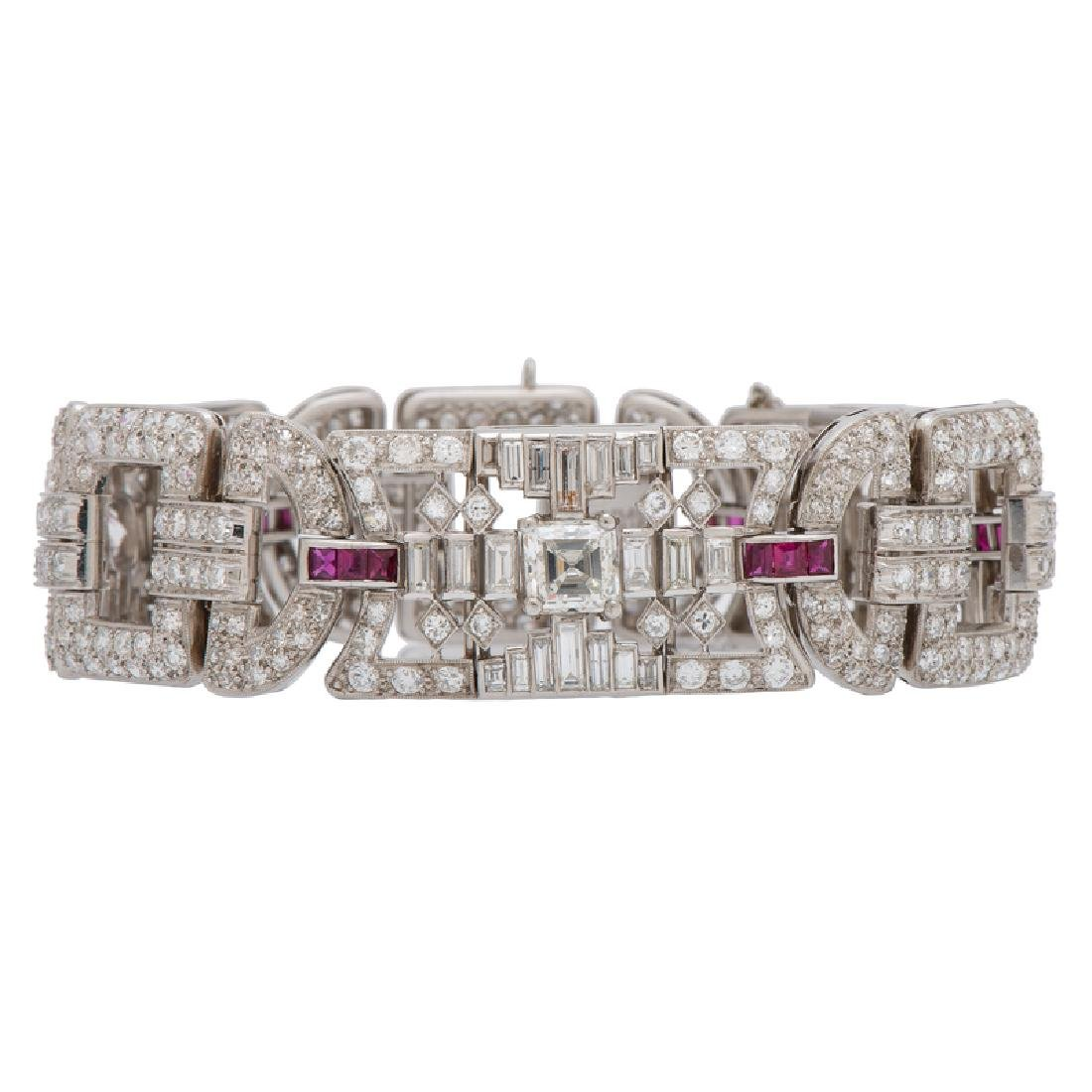 Tiffany & Co. Art-Deco Diamond and Ruby Bracelet in
