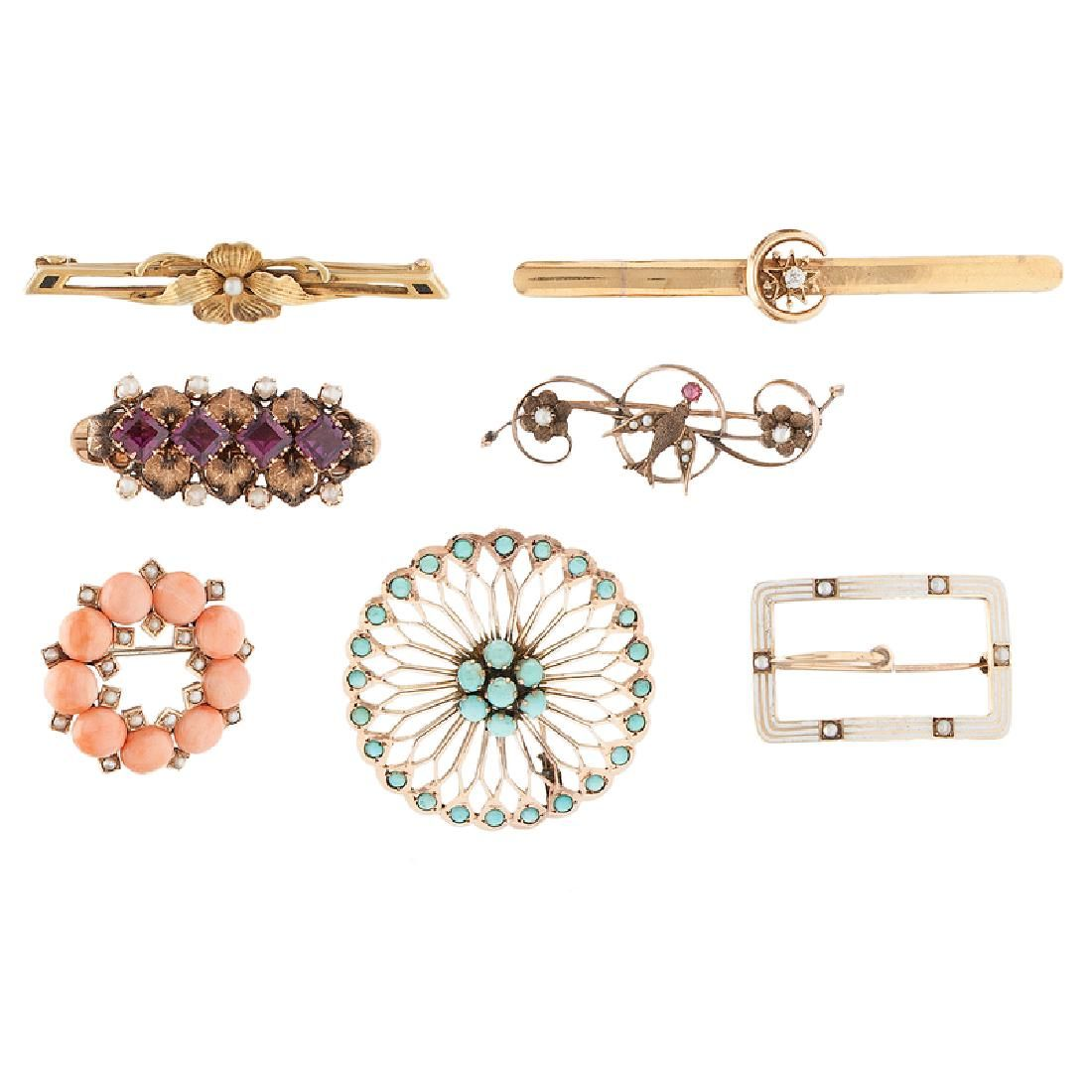Victorian and Edwardian Brooches in Karat Gold