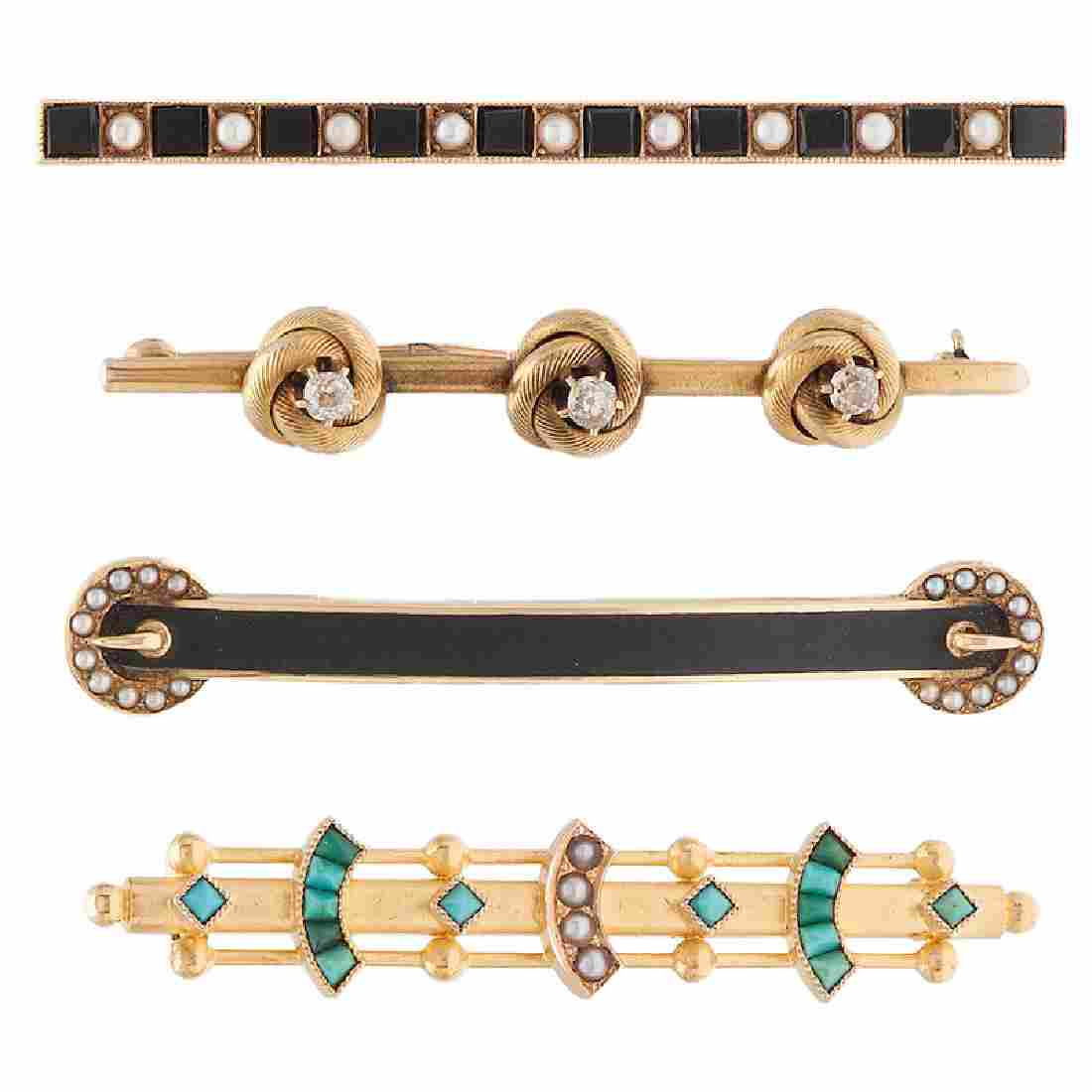 Victorian Bar Pins in 14 Karat Yellow Gold and Gold
